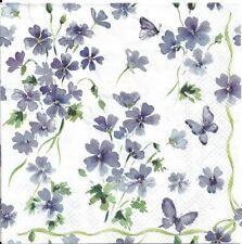 Lot de 4 Serviettes en papier Fleurs violettes Decoupage Collage Decopatch