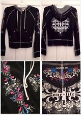 $278 NEW ONE LIFE TO LIVE BLACK HOODIE XS EMBELLISHED STRETCH KNIT FAB! STEAL!!!