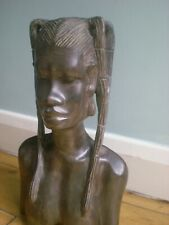 Beautiful antique solid ebony statue of an African lady