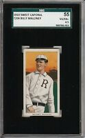 1909-11 T206 Billy Maloney Sweet Caporal 350 Rochester SGC 55 / 4.5 VG-EX+