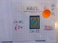 BRITISH COMMONWEALTH EDWARD VII STAMP MALTA ½d SG 38 MUH
