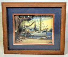 Vintage Hand-Made Diorama 3D Art Queen Anne Boat Harbor Fresh Shrimp