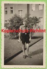 org. Foto: Wehrmacht H- Jugend Pimpf mit Trompete Fanfare & Sturmgepäck & Mütze