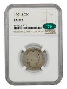 1901-S 25c NGC/CAC Fair 2 - Famous Key Date - Barber Quarter - Famous Key Date