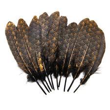 10pcs Plume d'oie naturel noir dore avec dessin unique decoration bricolage