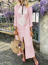 Womens Loose Paisley Baggy Cotton Linen Kaftan Dress Long Sleeve Long Maxi Dress