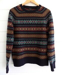 J. CREW 100% Wool Alpine FAIR ISLE Crew Neck Sweater Navy - S