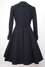Ladies vintage 1940s/50s swing style flattering wool coat Navy Blue cord