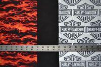 1 yd each HARLEY DAVIDSON Shield Logo, Red Flame & Black Quilt Sew Fabric