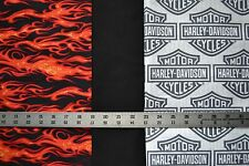 1 yd each HARLEY DAVIDSON Shield Logo, Red Flame & Black Quilt Sew Fabric 3 yds