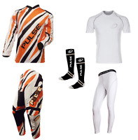 PULSE DIMENSION ORANGE MOTOCROSS MX ENDURO ATV BMX MTB KIT + BASE LAYERS & SOCKS