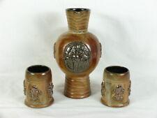 Signed Roger Guerin Belgium Ceramic Art Pottery Pitchur and 2 Mugs Fleur-de-lis