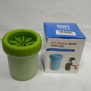 """Tooge Small Soft Bristled Pet Animal Paw Wash Cup Green 4.5"""" Tall For Small Paws"""