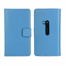 Blue Genuine Leather Business Wallet Card Case Cover Stand for Nokia Lumia 920
