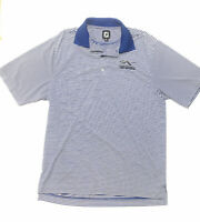 FJ Footjoy Men's Golf Polo White Blue Striped Golf Shirt Short Sleeve Medium
