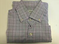 Eton Men's Green And Purple Plain Contemporary Fit Dress Shirt Size L
