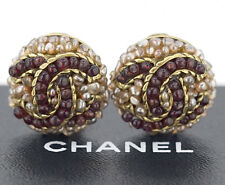 CHANEL CC Red Gripoix Stones Earrings Gold Clips Vintage w/BOX #508