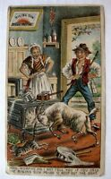 1880s Advertising Trade Card Rising Sun Stove Polish Goat Ramming a Stove B