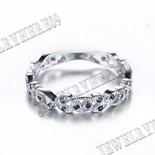 Generous Milgrain Sapphires Engagement & Wedding Ring Band Solid 10K White Gold