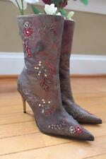 Dibrera Women's Brown Red Sequin Leather Heel Boots Size 37.5 (bota1400B