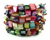"Natural Paua Abalone Shell Beads Strand cuff bracelet 6""-8"" adjustable BA217"