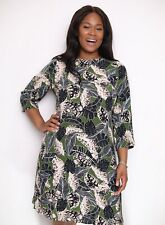 Evans Womens Plus Size Multi Coloured Palm Print Knee High Dress Casual