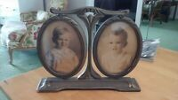 Antique Double Wood Frame Oval Photo Frame Adjustable Table Top With Photos