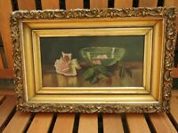 Antique Irish oil painting on canvas - still life bowl and flowers - Belfast
