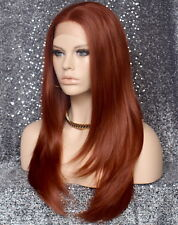 Long Silky Straight Full Lace Front Wig Copper Red Hair Piece 130 NWT WBDL