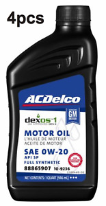 Pack of 4 Engine Motor Oil Full Synthetic SAE 0W-20 Dexos1 Gen2 ACDELCO 109236