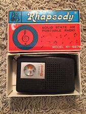 Vintage Rhapsody RY-657 Solid State AM Portable Radio In Original Box--WORKS!