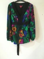 Monsoon Floral Print Long Sleeve Tunic Top with Beading Detail, Size 12, VGC