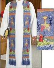 Stole - Christmas - HOPE - PEACE - LOVE - Vestment - Tapestry W/Tassels