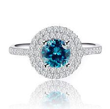 Women's 8mm 2 Carat Blue Topaz Birthstone Birthday Wedding Ring Size 6 R122