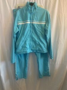 Y2K Nike Womens Two Piece Track Suit Running Lightweight Blue And White Sz XL