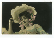 c 1904 Stylish FRENCH BEAUTY Fasion vintage Traut photo postcard