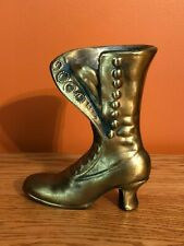 "Vintage Brass Small Boot Vase Planter 6"" Tall 1lb"