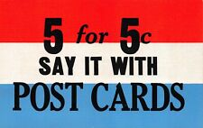 Advertising Postcard 5 for 5c Say It With Post Cards Red/White/Blue~123009