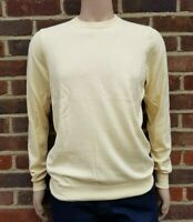 Men`s Jumper Crew Neck Cotton Blend Size Large Yellow Ex-M&S Pullover