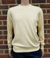 Men`s Jumper Crew Neck Cotton Blend Size Medium Yellow Ex-M&S Pullover