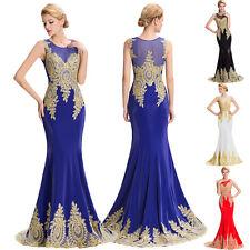 Mermaid Lang Applikation Abendkleid Ballkleid Brautkleid Hochzeit Kleider Gr:46