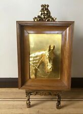 American Custom Oak Framed 24-Karat Gold Leaf Bronze Horse Mural Sculpture 1960s