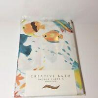 "CREATIVE BATH SHOWER CURTAIN ; 72"" x 72"" / 183 cm x 183 cm SWIMMING FISH DESIGN"