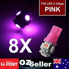 8x T10 Purple 12V 5-LED 194 168 158 W5W 501 Side Car Auto Wedge Light Tail Bulbs
