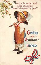 Signed Clapsaddle c. 1910 Patriotic, Washington's Birthday, Boy with Ax, #16208