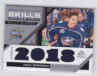 18/19 SP GAME USED...ZACH WERENSKI...NHL ALL-STAR SKILLS RELIC BLENDS.../125