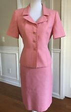 LE SUIT Women 2 PC Pink Short Sleeves Skirt Suit Size 8 Petite