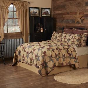 VHC Brands Primitive King Quilt Tan Patchwork Tea Star Cotton Bedroom Decor