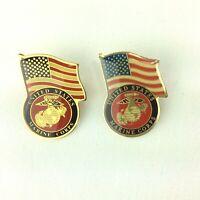 US Marine Corps Lapel Pin Military Veteran Patriotic Gold Tone Cap Hat
