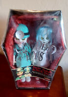 2000 MEZCO ~ 2 Living Dead Dolls ~ Dr Dedwin & Nurse Necro ~ NIB with Coffin